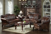 European Style Living Room Leather 3 - piece Sofa Set