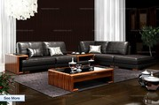 Oriental Style Cozy Leather Sectional Sofa